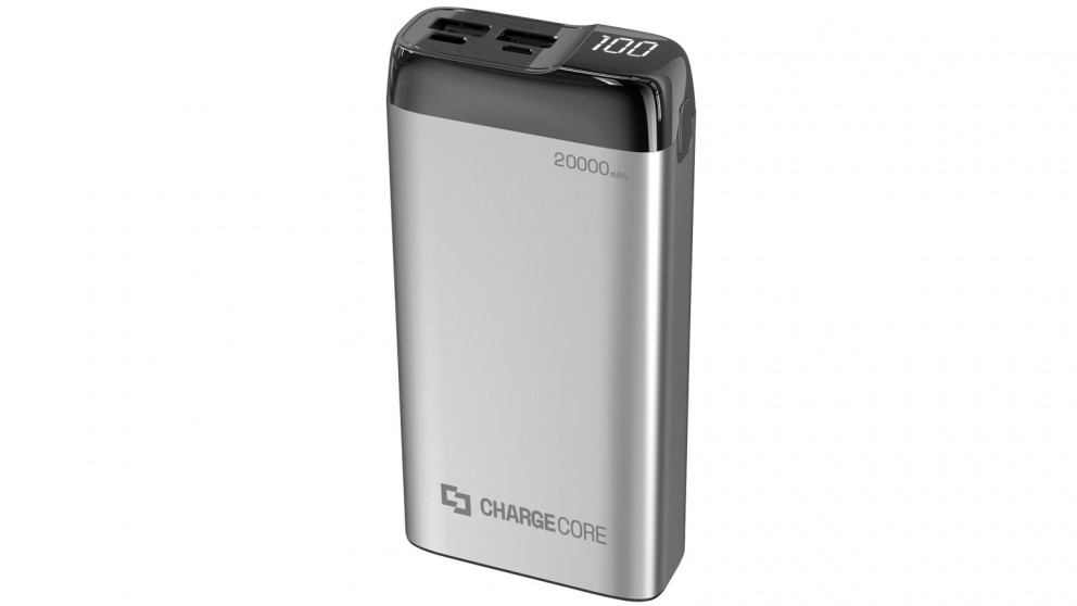 Laser 20000mAh Power Bank with LED Display - Silver