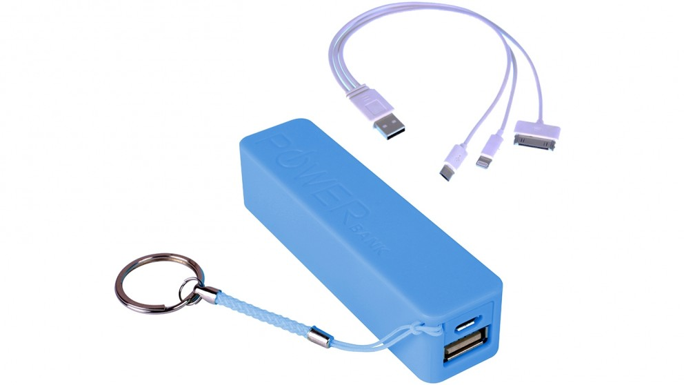 Laser 2200mAh Power Bank with Cable - Blue