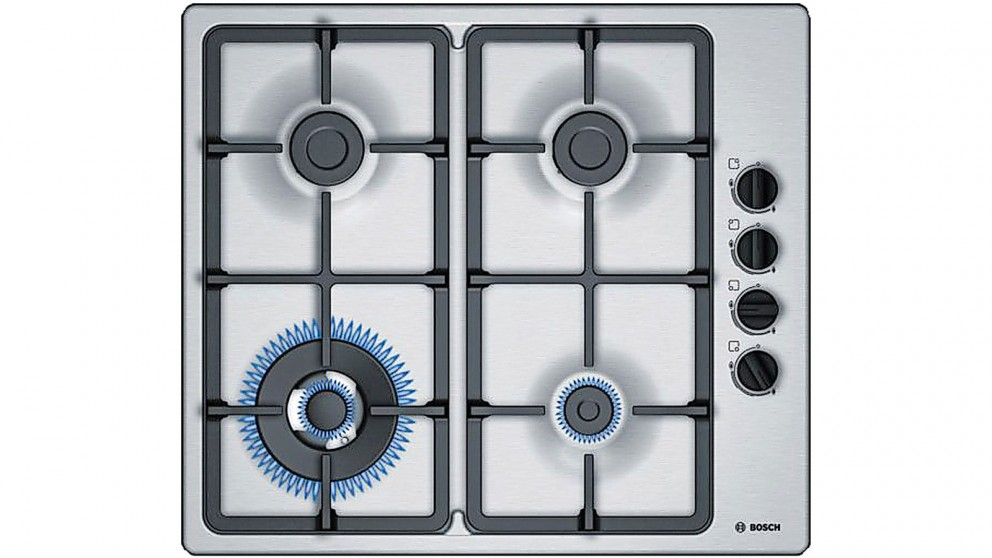 Bosch 600mm Series 2 4 Burner Brushed Stainless Steel Gas Cooktop