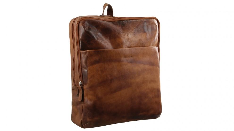 Pierre Cardin Rustic Leather Backpack - Cognac