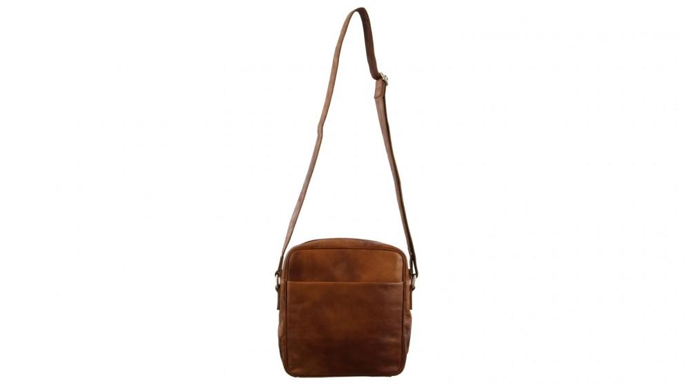 Pierre Cardin Business Rustic Cross-Body Leather Bag - Cognac