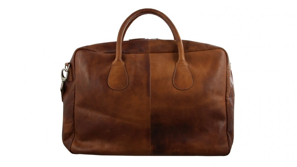 Pierre Cardin Rustic Travel Leather Bag - Cognac