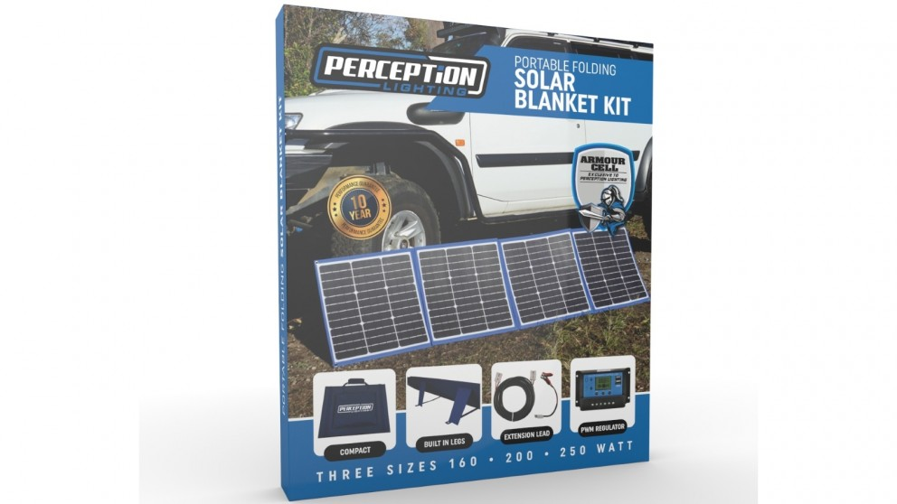 Perception Lighting 160W Portable Folding Solar Blanket with Legs & Armour Cell