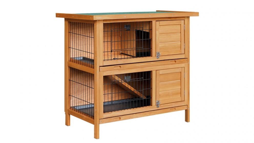 i.Pet 2-Storey Wooden Pet Rabbit Hutch - Natural