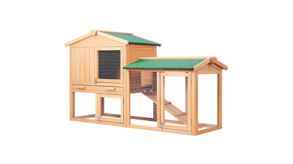 i.Pet 138cm Tall Wooden Pet Coop with Slide Out Tray - Natural