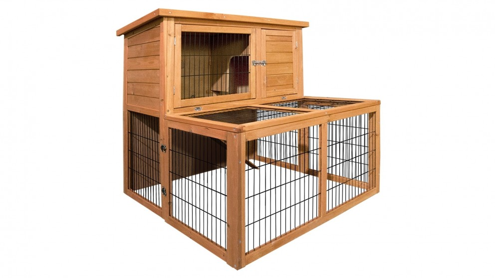 i.Pet 100cm Tall Wooden Pet Coop with Built-In Ramp - Natural