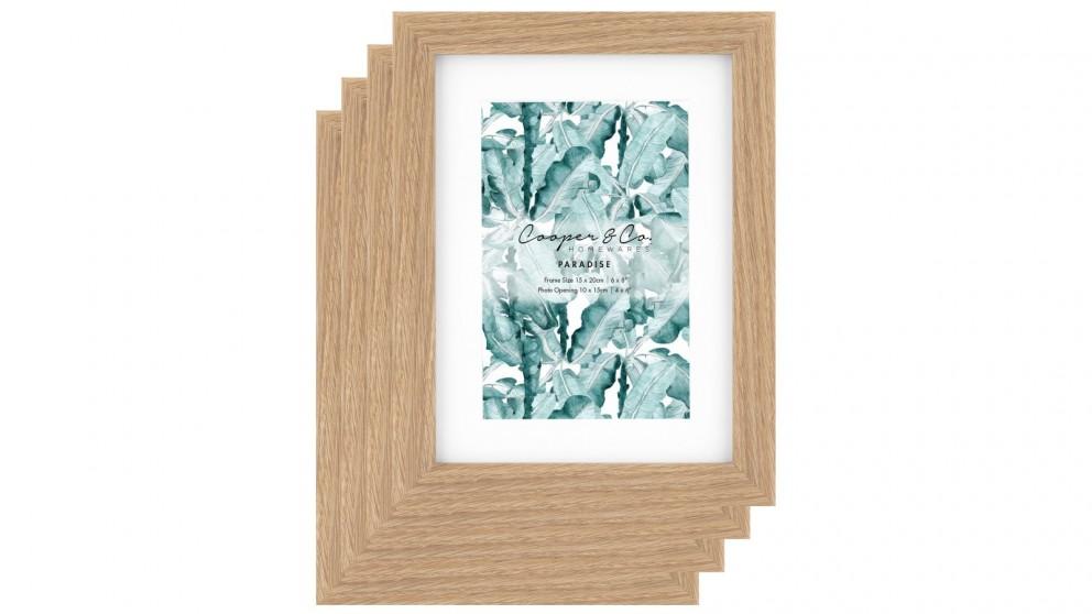 Cooper & Co. Set Of 4 15x20cm Mat to 10x15cm Premium Paradise Wooden Photo Frame - Oak