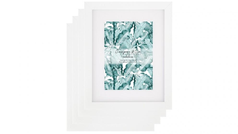 Cooper & Co. Set Of 4 20x25cm Mat to 13x18cm Premium Paradise Wooden Photo Frame - White
