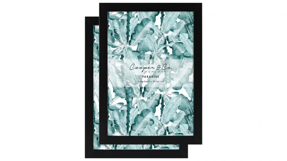 Cooper & Co. Set Of 2 21x29.7cm Premium Paradise Wooden Photo Frame - Black