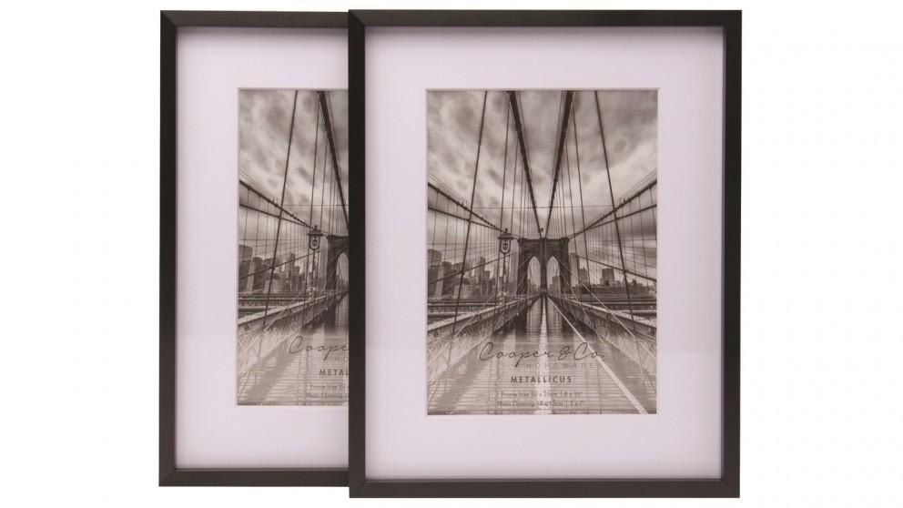 "Cooper & Co. Set of 2 8X10"" Mat to 5X7"" Premium Metallicus Metal Photo Frames - Black"