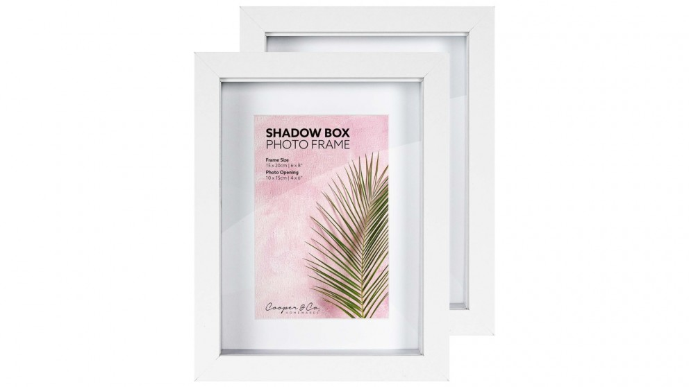 Cooper & Co. Set of 2 15x20cm Mat to 10x15cm Shadow Box Wooden Photo Frame - White