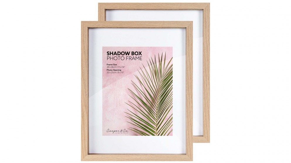 Cooper & Co. 28x36cm to 20x25cm Set of 2 Oak Shadow Box Wooden Photo Frame - Set of 2