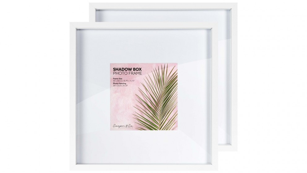 Cooper & Co. 40x40cm to 20x20cm Set of 2 White Shadow Box Wooden Photo Frame - Set of 2