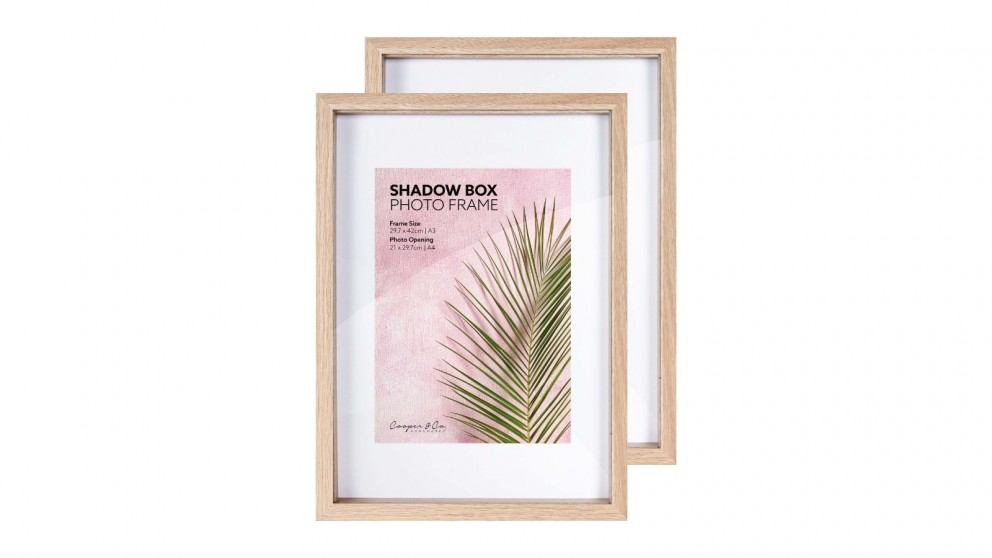 Cooper & Co. A3 mat to A4 Oak Shadow Box Wooden Photo Frame - Pack of 2