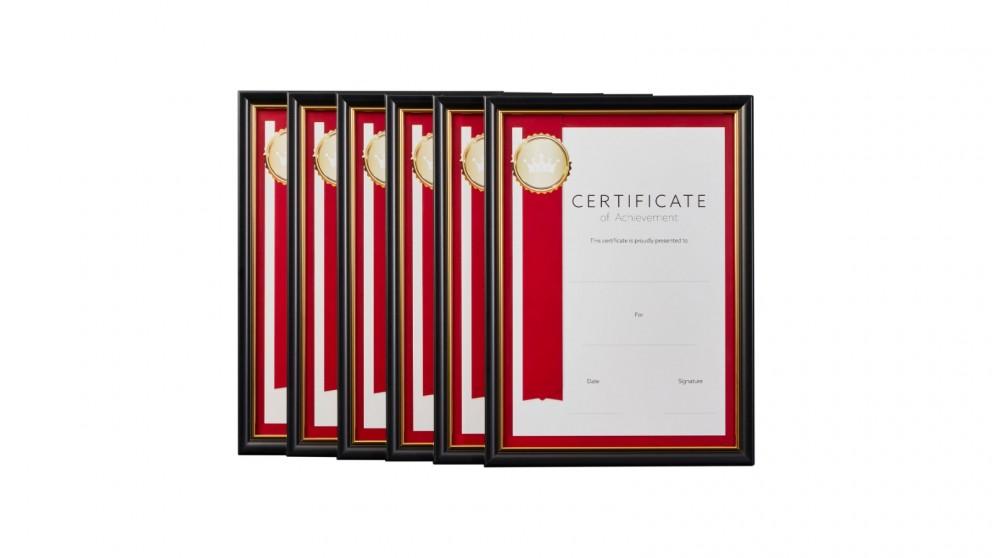 Cooper & Co. A4 Classic Certificate Frame Black/Gold - Pack of 6