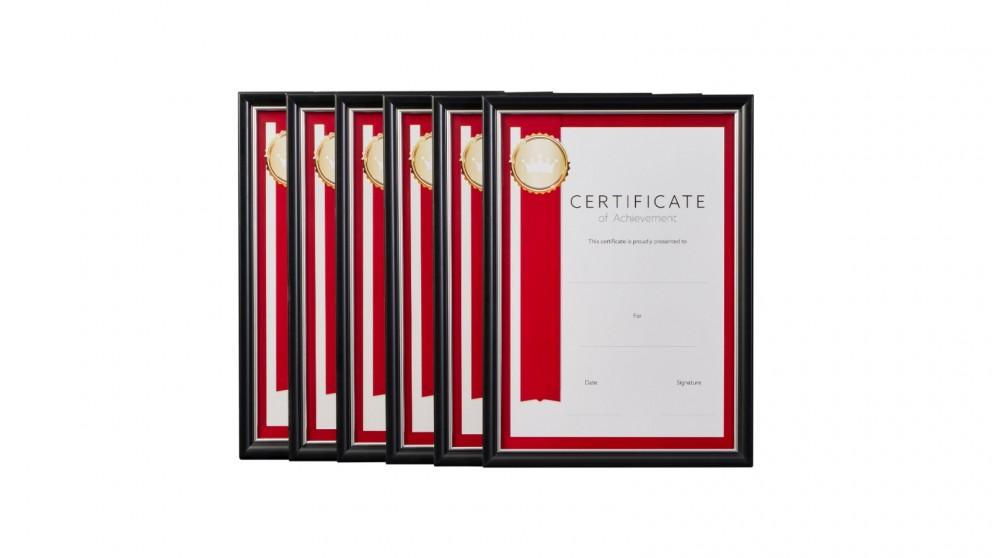Cooper & Co. A4 Classic Certificate Frame Black/Silver - Pack of 6