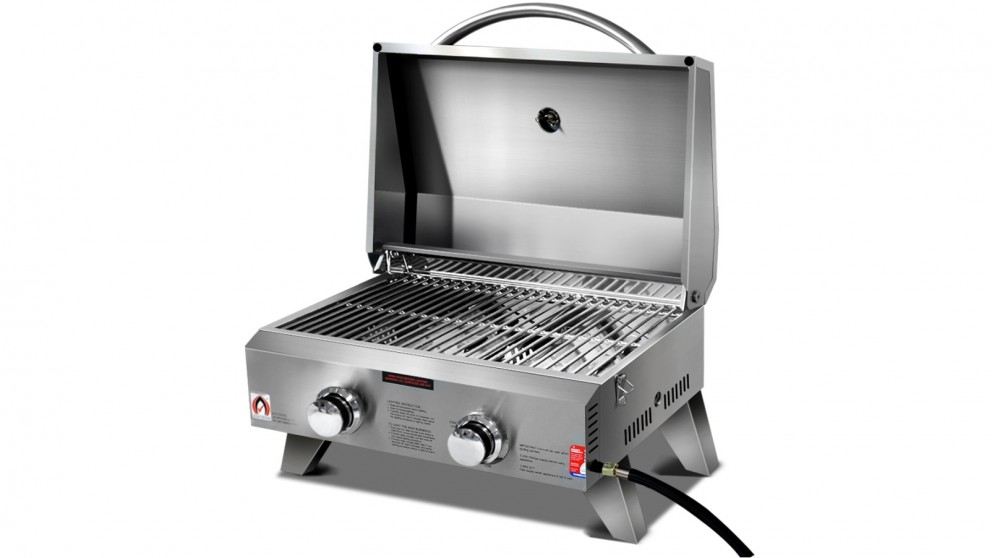 Grillz Portable 2 Burner Gas BBQ - Stainless Steel