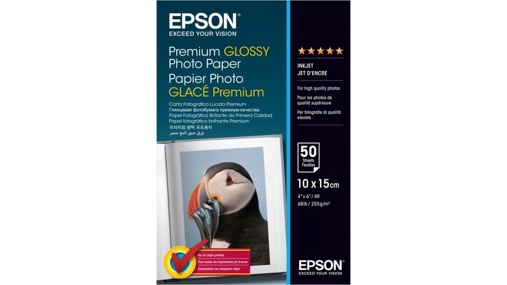 "Epson Premium 4"" x 6"" Glossy Photo Paper - 50 Sheet"