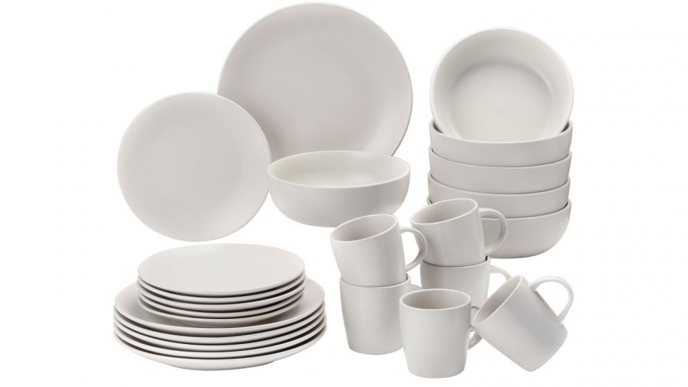 Cooper & Co. 24 Piece Stoneware Dinner Dining Set - Beige White
