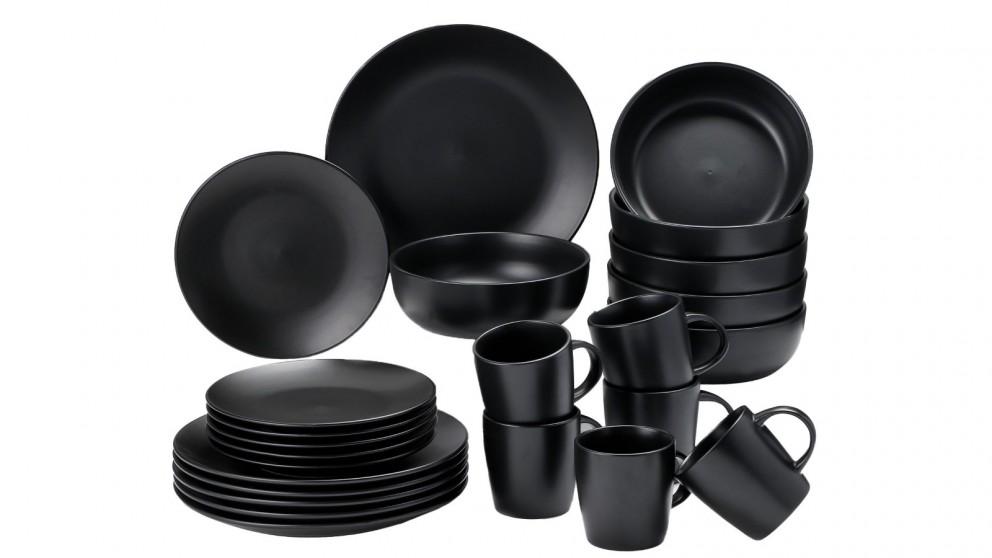 Cooper & Co. 24 Piece Stoneware Dinner Dining Set - Black
