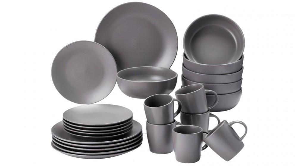 Cooper & Co. 24 Piece Stoneware Dinner Dining Set - Grey