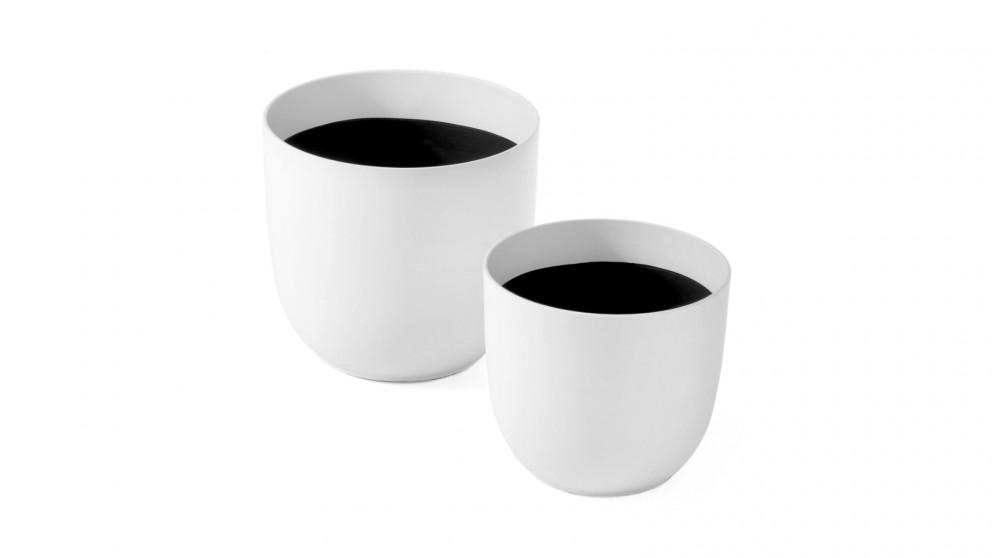 Cooper & Co. Massima White Round Planter Pots 35cm & 28cm - Pack of 2