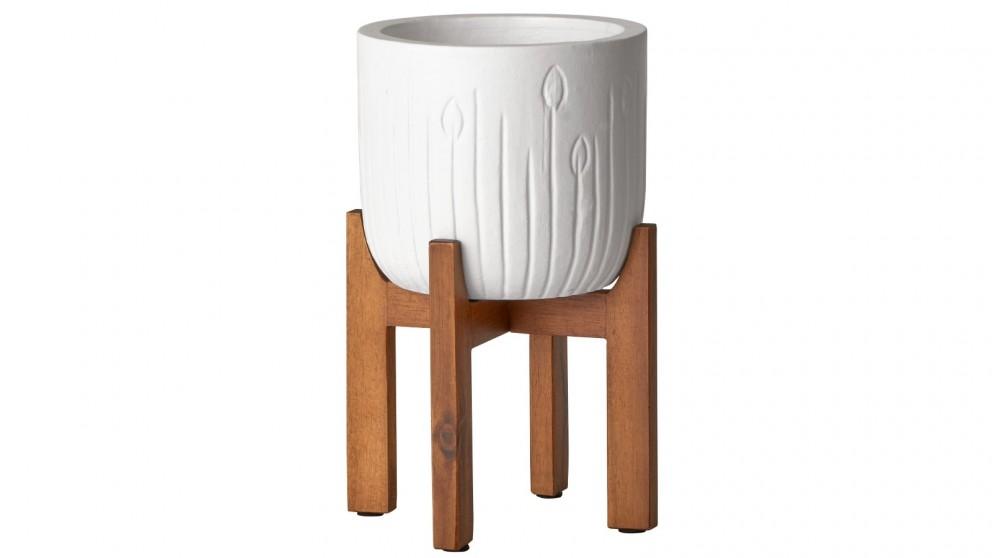 Cooper & Co. Iris Ceramic Planter Pot On Wooden Stand