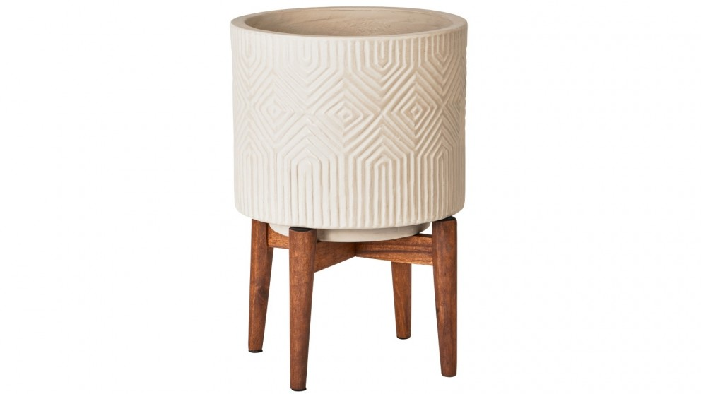 Cooper & Co. Dane Ceramic Planter Pot On Wooden Stand