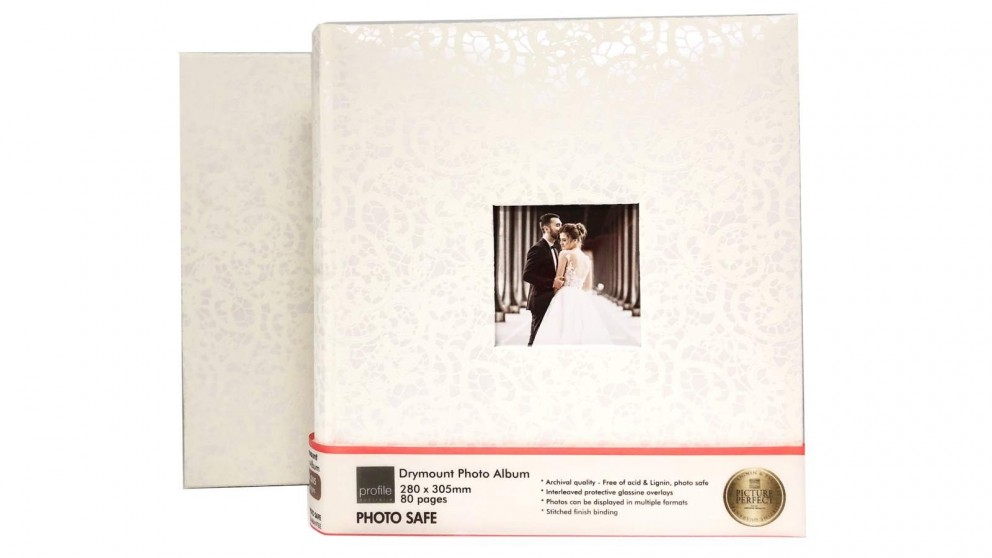 Platinum Lace Wedding 280x305mm Photo Album with 80 Drymount Pages