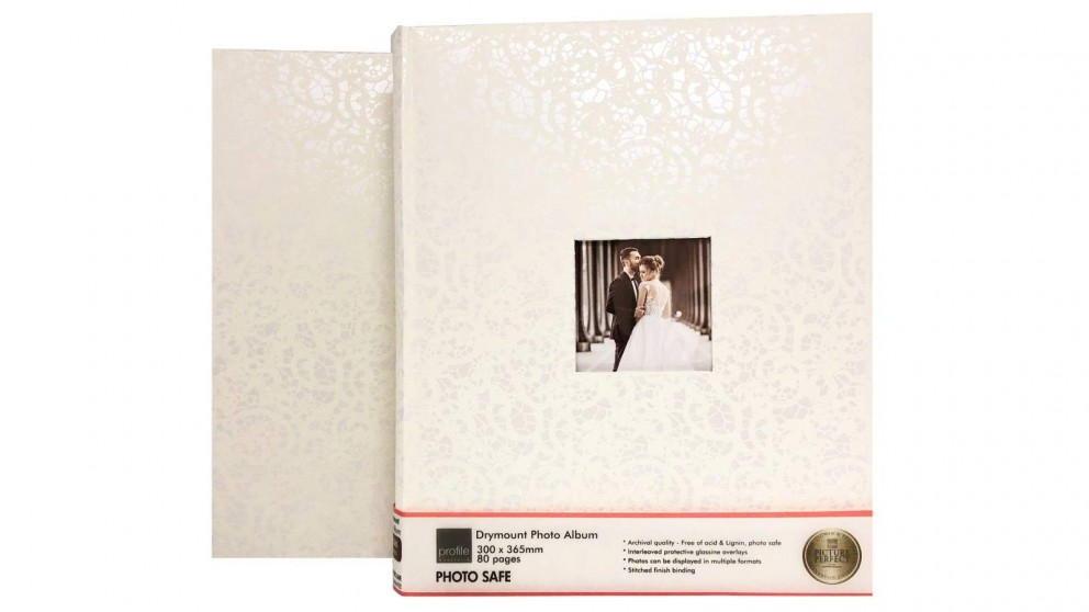 Platinum Lace Wedding 300x365mm Photo Album with 80 Drymount Pages