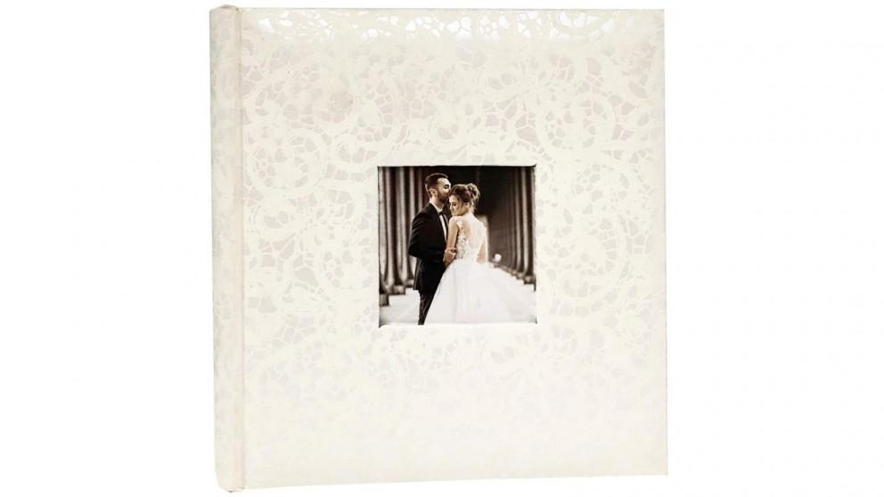 "Platinum Lace Wedding Photo Album Fits 6x4"" - 200 Photos"