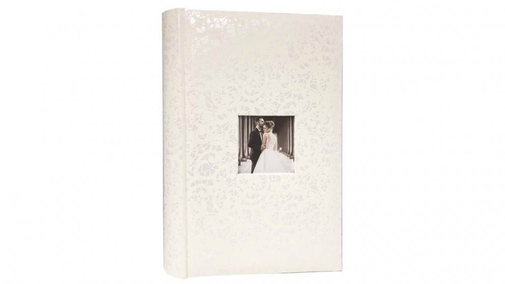 "Platinum Lace Wedding Photo Album Fits 6x4"" - 300 Photos"