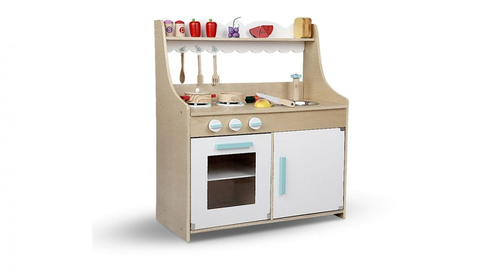 Buy Keezi Wooden Kitchen Play Set Food Natural White Harvey