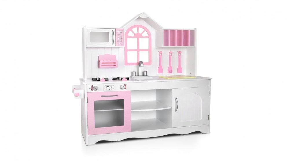 Keezi Wooden Kitchen Play Set - Pink/White