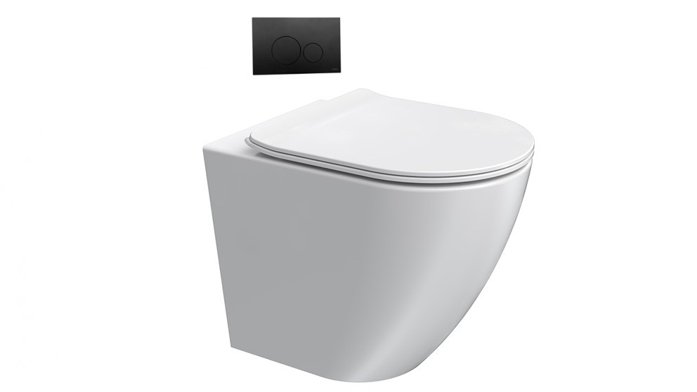 Parisi Ellisse MK II Wall Faced Pan with In-Wall Cistern and Push Button Panel
