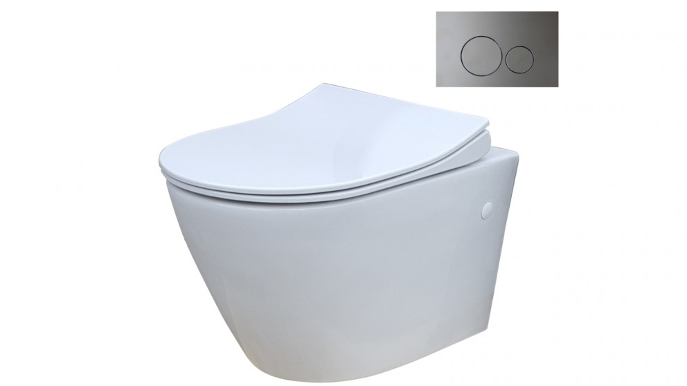Parisi Ellisse MK II Wall Hung Pan Toilet Suite with Tondo Round Chrome Flush Plate