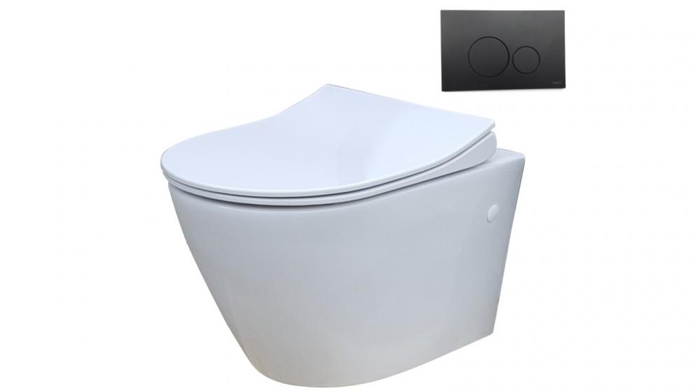 Parisi Ellisse MK II Wall Hung Pan Toilet Suite with Tondo Round Matte Black Flush Plate