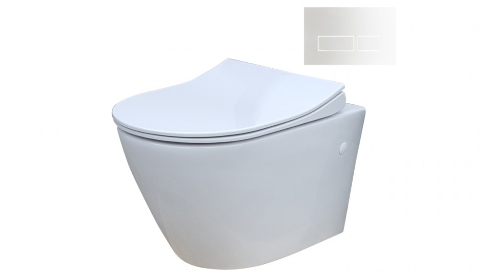 Parisi Ellisse MK II Wall Hung Pan Toilet Suite with Blade Rectangular Gloss White Flush Plate