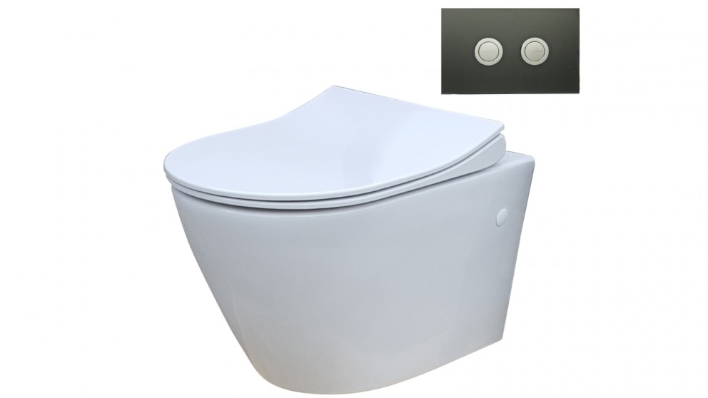 Parisi Ellisse MK II Wall Hung Toilet Suite with Twin Button Black Glass Flush Plate