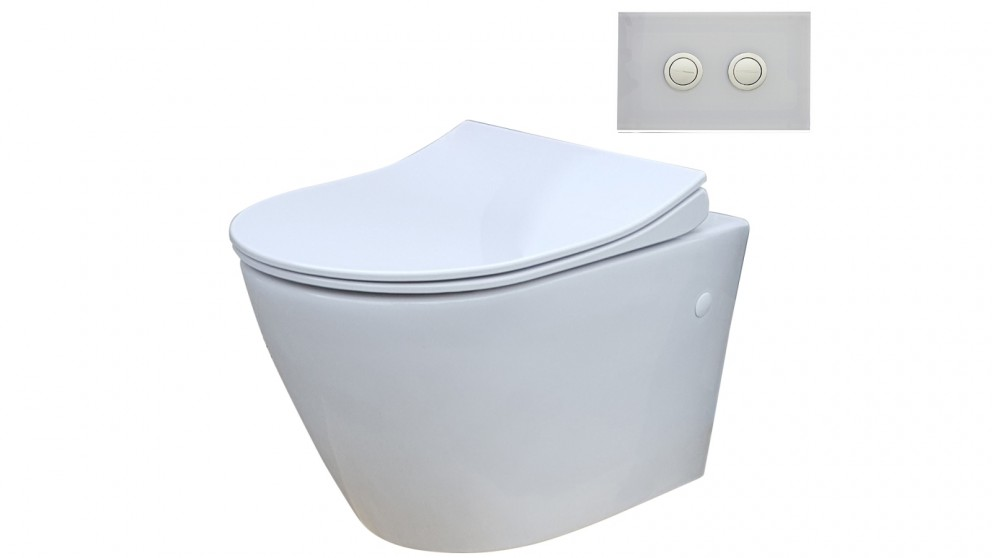 Parisi Ellisse MK II Wall Hung Toilet Suite with Twin Button White Glass Flush Plate