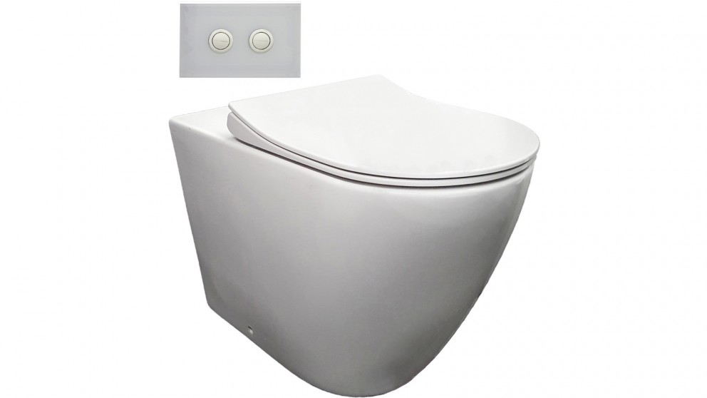 Parisi Ellisse Ambulant Wall Faced Toilet Suite with White Glass Flush Plate