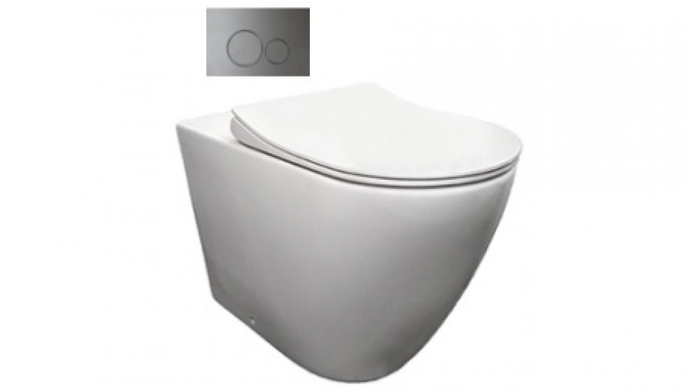 Parisi Ellisse Wall-Faced Ambulant Pan with In-Wall Cistern and Chrome Flush Plate
