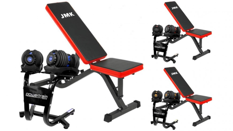 PowerTrain 2x 24kg Dumbbell with Stand ZYDB Bench