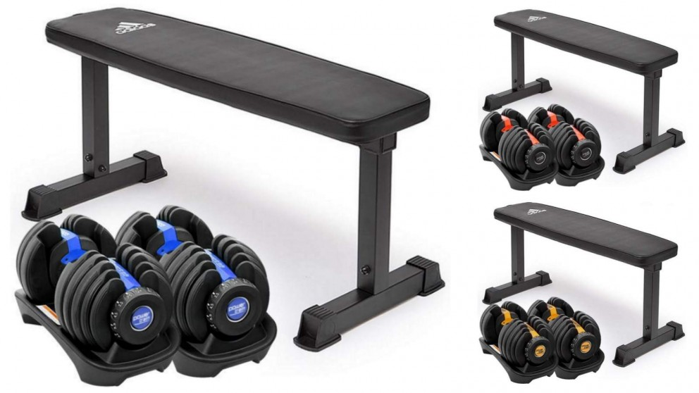 PowerTrain 2x 24kg Dumbbells with 10437 Bench