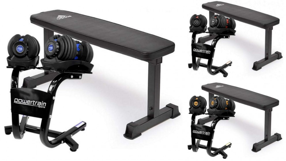 PowerTrain 2x 24kg Dumbbells with Stand and 10437 Bench