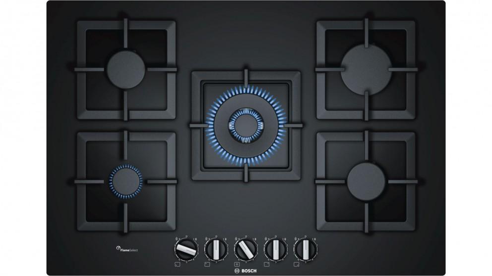 Bosch 750mm Series 6 5 Burner Tempered Glass Gas Cooktop - Black