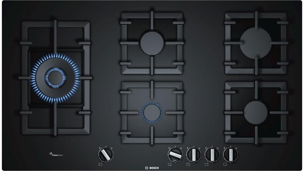 Bosch 900mm Series 6 5 Burner Tempered Glass Gas Cooktop - Black