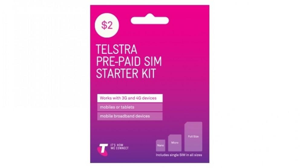Telstra $2 Pre-Paid Standard/Micro/Nano Sim Starter Kit