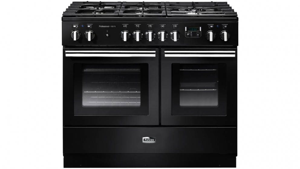 Falcon Professional+ FX 1000mm Chrome Fitting Dual Fuel Freestanding Cooker - Black