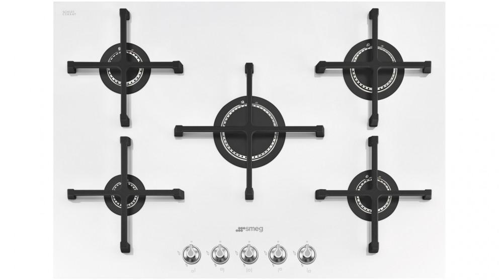 Smeg Linea 750mm White Ceramic 5 Burner Gas Cooktop